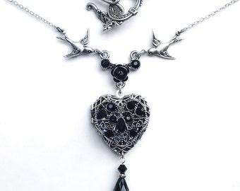 Gothic Black Heart Necklace Black Swarovski Heart Locket Personalized locket necklace heart shaped monogram jewelry custom name initial