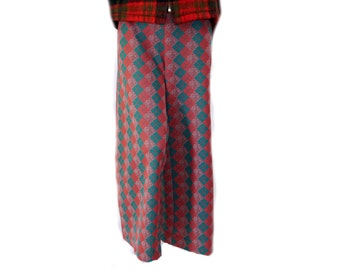 Red & Green Plaid Check High Waist Pants // Red Plaid Women's Trousers// 119