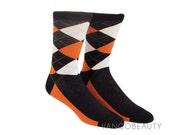 Orange Black White Argyle Socks . Mens Dress Socks. Wedding Socks. Groomsmen Socks. Fit size 7-13