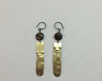 Textured brass dangle earrings with tigers eye
