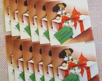 Twelve Vintage Unused Christmas Cards and Envelopes Very Merry Christmas Puppy