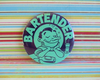 Vintage Retro Big Bartender Button