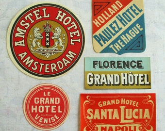 Collection of Five Vintage Luggage Labels