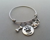 Dog Lover Charm Bracelet, Dog Bracelet, Animal Lover, Animal Adoption, Dog Bone Charm, Heart Charm, Paw Print Charm, Stainless Steel Bangle