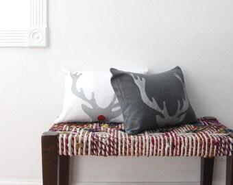 Rudolph Antler Decorative Throw Pillow - Silver Antler Christmas Pillow - Xmas Lumbar Throw Pillow