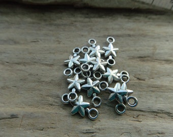 Silver Star Charms, Double End Connector Stars,  Silver Color Base Metal Charms -10
