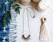 Spike Necklace, Simple Necklace, Minimalist Jewelry, Sunburst, Antique Brass Chain, Wood Bead Delicate Necklace, Boho Jewelry, Norwegianwood