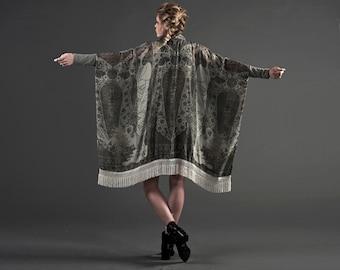 Silk Kimono, Fringe Kimono, Paisley Silk Kimono Cardigan, Gypsy Wedding Dress, Boho Fringe Kimono, Art Nouveau, Bridal Robe, Norwegian Wood