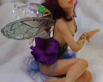Fairy doll, pixie doll, woodland, polymer clay OOAK, Sarah Pierzchala