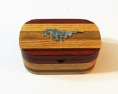Treasure Box With Ford Mustang Emblem Made Of Four Woods