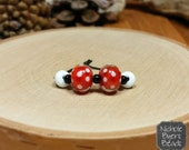 Little Lulu - Red and White Dotted Pair of Lampwork Glass Beads.