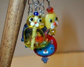 Cat Fish Hair Stick with Glass Cat & Fish Bead Dangles  in Primary Colors of Yellow, Red, Blue, on Wood Hairstick