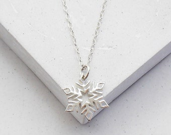 Snowflake Charm Necklace | Snowflake Necklace | Charm Pendant Necklace | Winter Fashion | Winter Wedding  | Sterling Silver