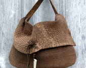 Rustic Steer Hide Leather Bag with Antler Tip by Stacy Leigh