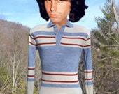 vintage 70s sweater polo knit SUTTON PLACE stripe soft collared Medium Small preppy 60s