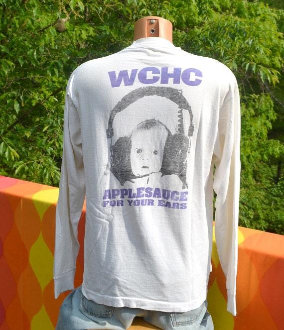 vintage 80s t shirt wchc worcester applesauce ears college