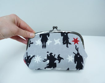 Cosmetic bag, grey and black ninja design, cotton purse