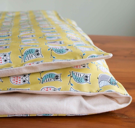 Organic Duvet Cover Yellow With Owls MADE TO ORDER