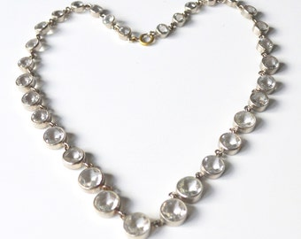 Art Deco Clear Crystals Riveire Necklace Open Back Faceted Graduated Size Stones Silver Tone Chain Setting circa 1920s - 1930s