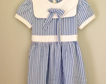 Vintage Blue and White Striped Girls Dress Sz 5/6