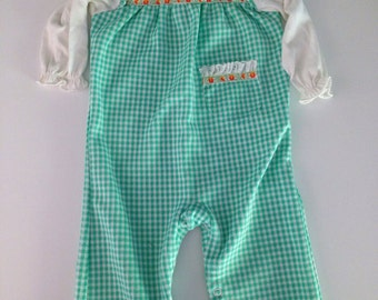 Vintage Carters 70s 80s Green Ruffled Floral Gingham Romper 12-18 months