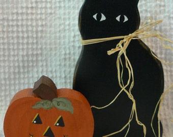 Vintage Handmade Black Cat and Pumpkin Halloween Decorations - Nicely hand painted wood - so cute