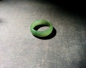 Natural jade stone ring in dark celadon green color Size 7 Spiritual, zen, yoga band ring