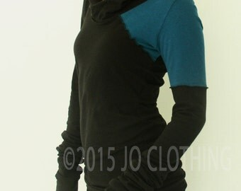 Hooded top/extra long sleeves/Black with Teal asymmetrical shoulder accents
