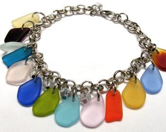 Sea Glass CHARM BRACELET with Swarovski Crystals Nc2161, Stainless steel Beach Wedding Gift Memento