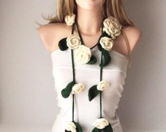 Rose Flower Scarf, Handmade Crochet Scarf