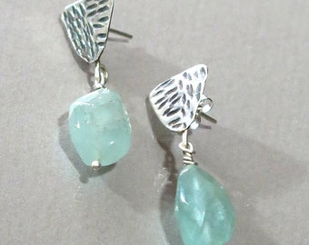 March Birthstone Earrings, Sterling Aquamarine Dangles, Aquamarine Stud Earrings, Textured Silver Earrings, Handhammered Silver