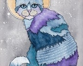 CAT Art Luna Calico Cat Portrait Original Cat Watercolor Folk Art Painting
