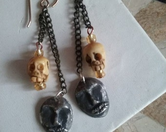 Zombie Skull Earrings in Silver and Bone