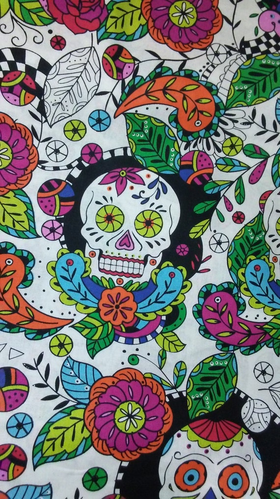 Choose 1 Of 3 Different Skulls Print Quilting Cotton