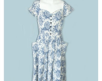 Vintage 1940's Jerry Gilden Blue Floral Spectator Day Dress