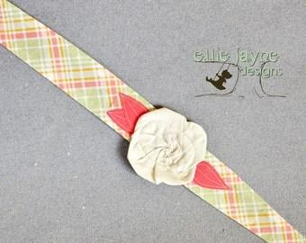 Whimsy Wrap Happy Times plaid cream rose fabric headband
