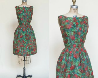 Vintage 1960s Green Red Floral Cocktail Dress Small
