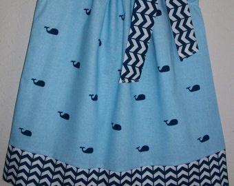 Pillowcase Dress with Whales Girls Dresses Whale Dress Nautical Dress for Ocean Party Nautical Clothes for Girls Outfit with Whales