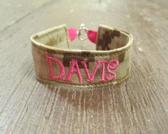 CUSTOM Marine Name Tape Military Bracelet, Marine Corps Camo Bracelet, Custom Marine Jewelry, Marine Gifts
