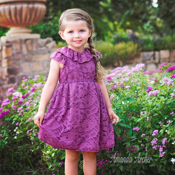 Plum Rose Petal Lace Dress for Toddler and Girl, Birthday, Flower Girl
