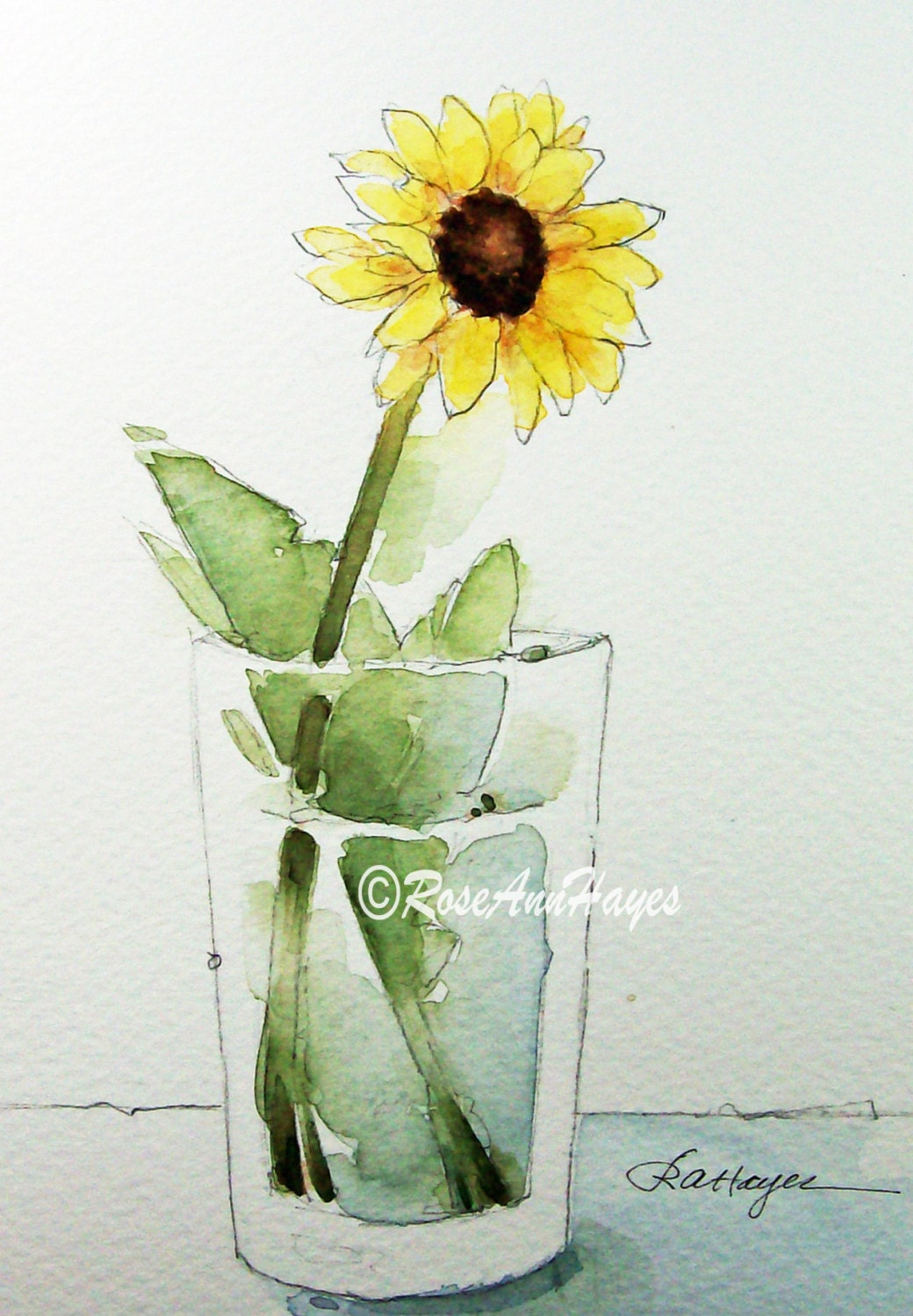 Original Watercolor Painting Sunflower In Glass Wildflower
