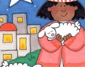 "ACEO - Artist Trading Card - SFA - Original Illustration - Folk Art - Cute Whimsical - 2.5"" X 3.5"" - The Night Watch"
