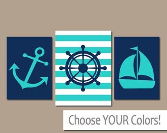 ANCHOR SAILBOAT Wall Art, CANVAS or Prints, Ocean Bathroom Artwork, Navy Turquoise, Captain Wheel, Coastal Nautical Decor, Set of 3 Home Art