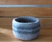 Medium Grey Heather Felted Bowl w/ Dark Grey Stripes - In Stock - Ready to Ship