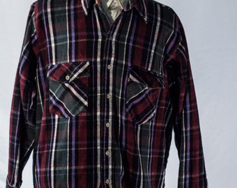 Men's Plaid Shirt / Vintage Red, Green, Blue and White / Size Large / XL / #2088