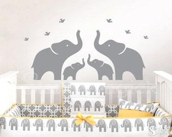 Elephants Wall Decal for Baby Nursery - Nursery Elephant Vinyl Wall Art - Elephant Home Decor Boy Girl room - K119MG