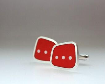 Modern Orange Cufflinks - Square Silver Cuff-links - Resin Cufflink - Gift-wrapped Unusual Jewelry for Men - Dot Dot Dot