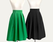 16 colors - pleated midi skirt with pockets - custom size, length, color for your everyday look / party / bridesmaids / work / school