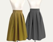 16 colors- pleated midi skirt - custom size, length, color for your everyday look / holiday / party / bridesmaids / work / school