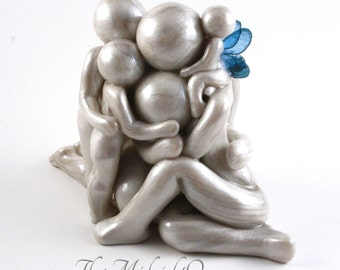 Always - Clay Angel Family Memorial Sculpture - little sister/brother in heaven - custom family of 5 with angel baby - made to order